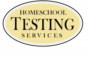 Homeschool Testing Services oval logo with black print against yellow background
